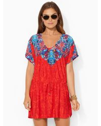 Ralph Lauren Graphic-Print V-Neck Tunic - Lyst