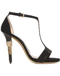 Alberto Guardiani 115Mm Lipstick Nubuck Swarovski Sandals - Lyst