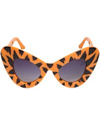 Jeremy Scott By Linda Farrow Tiger Printed Acetate Cat Eye Sunglasses - Lyst