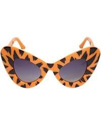 Jeremy Scott By Linda Farrow Tiger Printed Acetate Cat Eye Sunglasses - Lyst