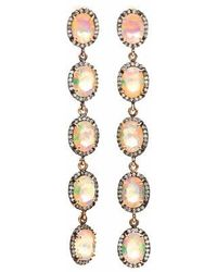 Katherine Wallach - Long Diamond Ethiopian Opal Earrings - Lyst