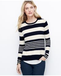 Ann Taylor Striped Two In One Sweater - Lyst