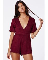 Missguided Katie Suede Belted Romper - Lyst