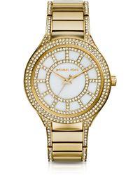 Michael Kors Mid-Size Golden Stainless Steel Kerry Three-Hand Glitz Watch - Lyst