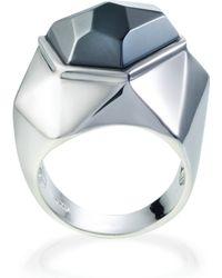 Ona Chan - Lattice Cocktail Ring Hematite - Lyst