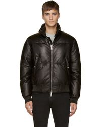DSquared2 Black Leather Down Bomber Jacket - Lyst
