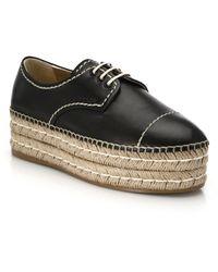 Prada Espadrille Platform Leather Lace-Up Shoes black - Lyst