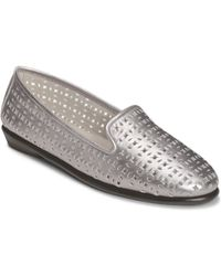 Aerosoles You Betcha Nubuck And Metallic Leather Smoking Slippers - Lyst