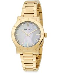 Versace Acron Diamond Mother-of-pearl  Goldtone Stainless Steel Watch - Lyst