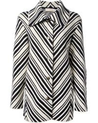 Tory Burch Diagonally Striped Coat - Lyst