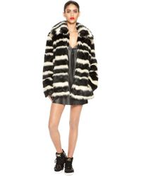 DKNY Faux Fur Striped Coat - Lyst