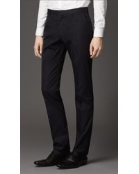 Burberry Slim Fit Cotton Gabardine Trousers - Lyst