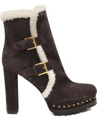 Alexander McQueen Shearling Double Buckle Boot - Lyst