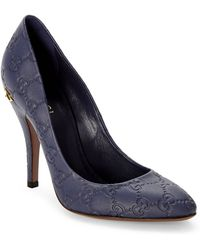 Gucci Blue Ssima Leather Pumps - Lyst