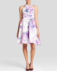 Parker Black Dress - Christine High Neck Floral Print Satin Fit And Flare - Lyst