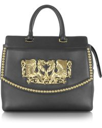 Roberto Cavalli Aphrodite Jewel Goldtone with Studs and Black Leather Tote - Lyst
