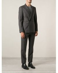 Giorgio Armani Brown Patterned Suit - Lyst