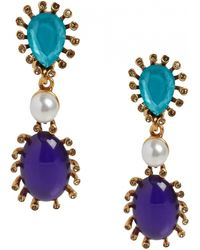Oscar de la Renta Multi Cabochon Teardrop Earrings Multi Cabochon Teardrop Earrings - Lyst