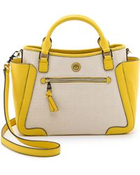 Tory Burch Frances Canvas Small Satchel - Natural/Sunset - Lyst