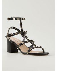 Valentino Black Rockstud Sandals - Lyst