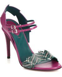 Fendi Zig-Zag Croc & Lizard-Embossed Leather Sandals purple - Lyst
