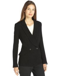 Theyskens' Theory Black Textured Double Breasted 2-button Blazer - Lyst