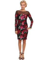 Badgley Mischka Sequin Floral Long Sleeve Cocktail - Lyst