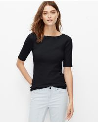 Ann Taylor Cotton Boatneck Tee black - Lyst