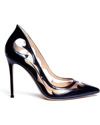Gianvito Rossi Western Clear Pvc Metallic Leather Pumps - Lyst