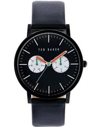 Ted Baker Mens Black Plated Watch with Calf Leather Strap - Lyst