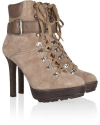 Kors by Michael Kors | Meridian Lace-Up Suede Ankle Boots | Lyst