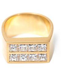 DINA KAMAL DK01 - Diamond & Gold Flat-Plate Pinky Ring - Lyst