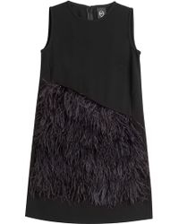 McQ by Alexander McQueen Crepe Shift Dress With Feathers - Lyst
