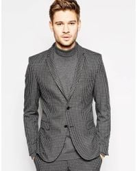 Selected Brushed Tonal Check Suit Jacket In Skinny Fit - Lyst