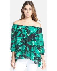 Vince Camuto Palm Print Off The Shoulder Blouse green - Lyst