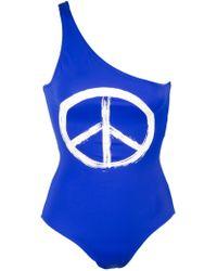 Kamali Kulture Cobalt One Shoulder Mio with Peace Sign - Lyst