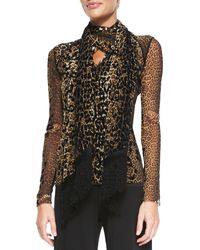 Jean Paul Gaultier Leopard-print V-neck Top with Scarf - Lyst