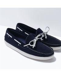 Zara Contrast Sole Moccasins blue - Lyst