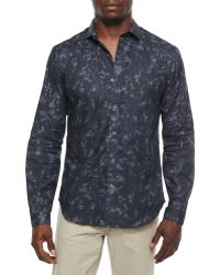 Theory Wilten Long-Sleeve Shirt In Gladiola-Print - Lyst