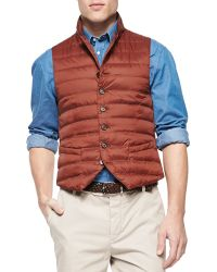 Brunello Cucinelli Nylon Notch-Lapel Vest - Lyst