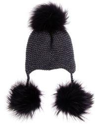 Inverni Cashmere and Fur Peruvian Beanie Hat - Lyst