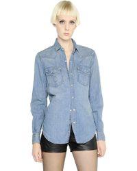 Saint Laurent Washed Cotton Denim Western Shirt - Lyst