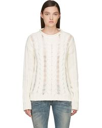 Pierre Balmain White Fisherman Knit Sweater - Lyst