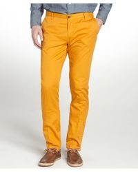 Etro Orange Cotton Straight Leg Pants - Lyst