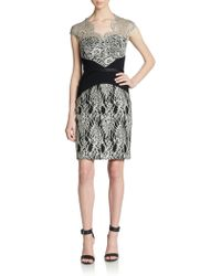 Theia Lace Contoured Illusion Dress - Lyst