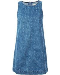YMC Embroidered Dots Denim Dress - Lyst