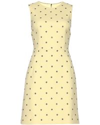 Dolce & Gabbana Crystal-Embellished Wool-Blend Mini Dress yellow - Lyst