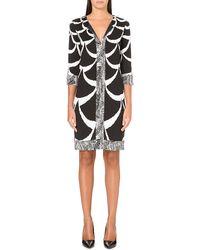 Diane Von Furstenberg Rose Silkjersey Tunic Dress Blackwhite - Lyst