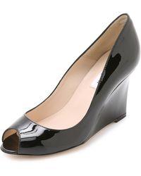 L.K.Bennett Erica Patent Peep Toe Wedges - Black - Lyst