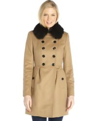 Burberry Camel Wool and Cashmere Double Breasted Fox Fur Collar Trench Coat - Lyst